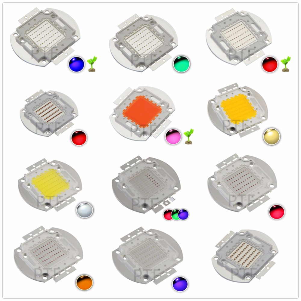 1pcs High Power LED 50W Chip Natural Cool Warm White Red Blue Green UV RGB IR Full Spectrum Grow Light 50 W LED for Floodlight
