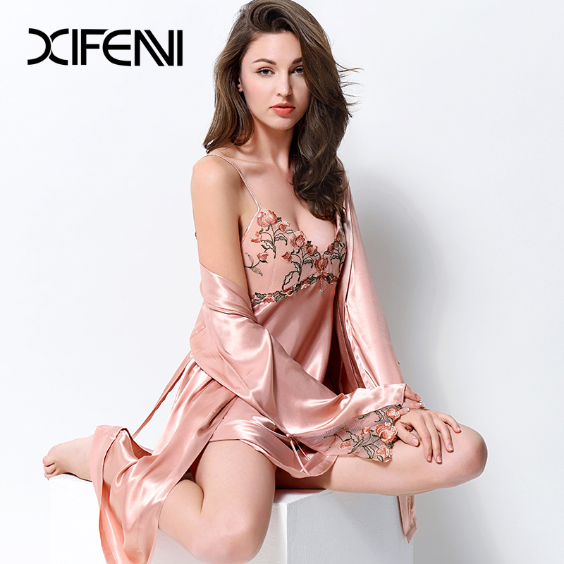 42ef2b214b42 XIFENNI Sexy Satin Silk Robe Sets With Chest Pad Women Faux Silk Nightgowns Two  Piece Embroidery Lace Bathrobe Pyjama Set 2702-in Robe   Gown Sets from ...