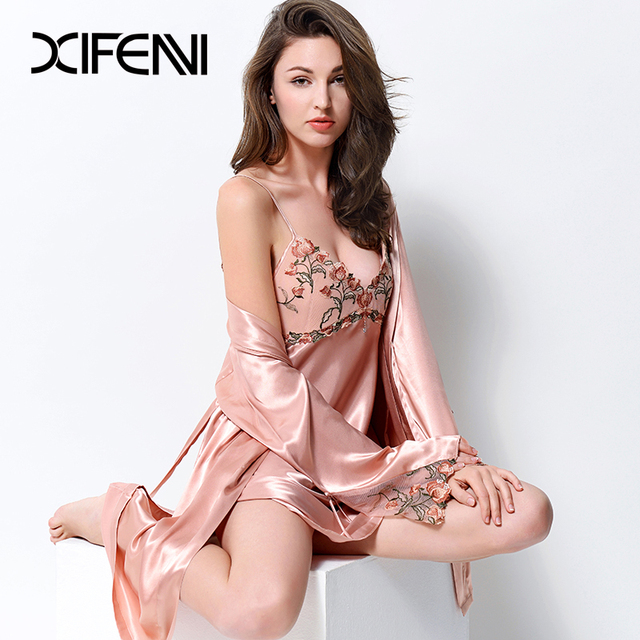 XIFENNI Sexy Satin Silk Robe Sets With Chest Pad Women Faux Silk Nightgowns Two-Piece Embroidery Lace Bathrobe Pyjama Set 2702