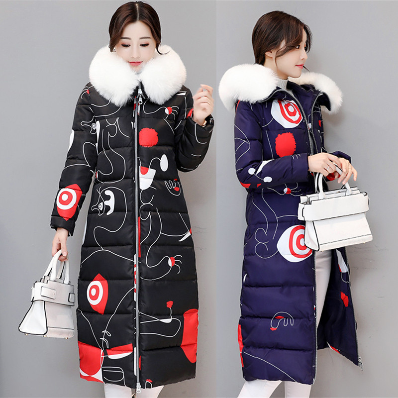 HZF Winter Coat Women 2017 New Plus Size Long Parkas Coat Female Printed Fur Collar Hooded Thick Warm Winter Jackets Outerwear new arrival 2017 winter jackets women wadded coat female thick warm overcoat large fur collar hooded long parkas plus size ok445