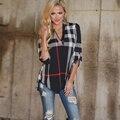 2017 nueva 5xl 4xl 3xl más tamaño mujeres clothing casual Loose cuello en V de Tres Cuartos A Cuadros Botón de Gran tamaño Camisetas Tops