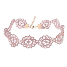 Punk Hollow Out Lace Pink Flower Choker Necklace Short Gothic Necklace Tattoo Collar Necklace Statement Jewelry For Women chic faux pearls feather tassel flower hollow out necklace for women