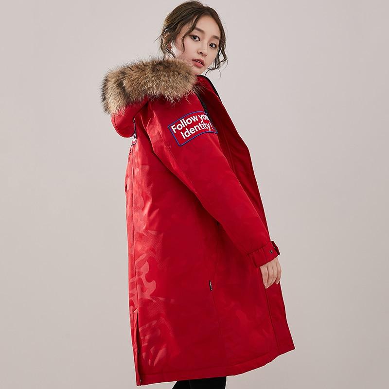 À Duvet Veste Hiver Mode red Black D'oie Raton Doudoune Outwear Col D'hiver Nouvelle 2019 Long Fourrure Laveur Femmes 90 Manteau white Réel Capuchon De OSwqdxqE