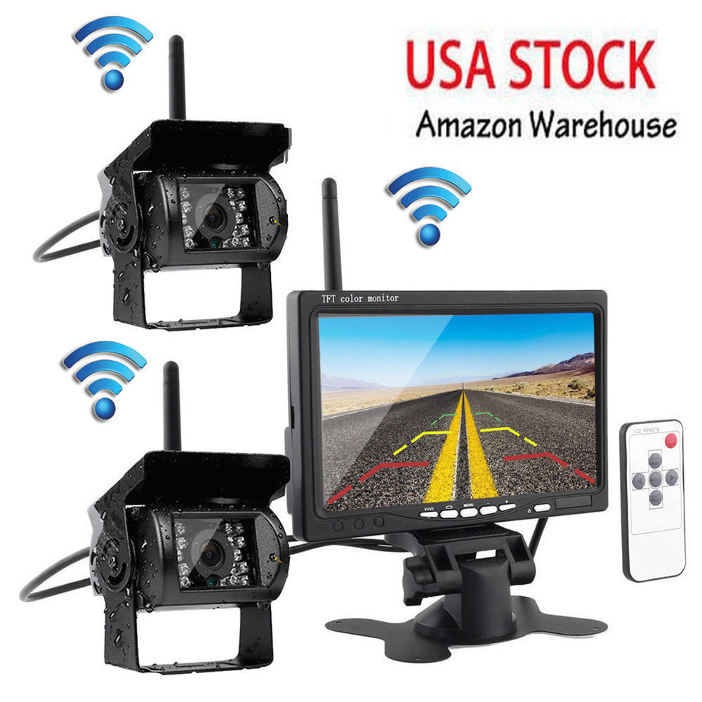 Wireless Dual Car Rear View Camera Parking Assistance Backup System IR Night Vision Waterproof 7 Monitor