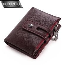 GUBINTU Genuine Leather Men Wallets Small Women Wallet Double Zipper&Hasp Male Portomonee Short Coin Purse Card Holder Carteira