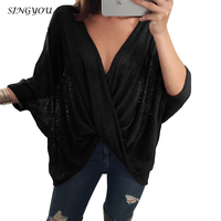 SINGYOU Europe America Hot Style Casual Women T Shirt Batwing Sleeve Sexy V Neck Knitted Tops