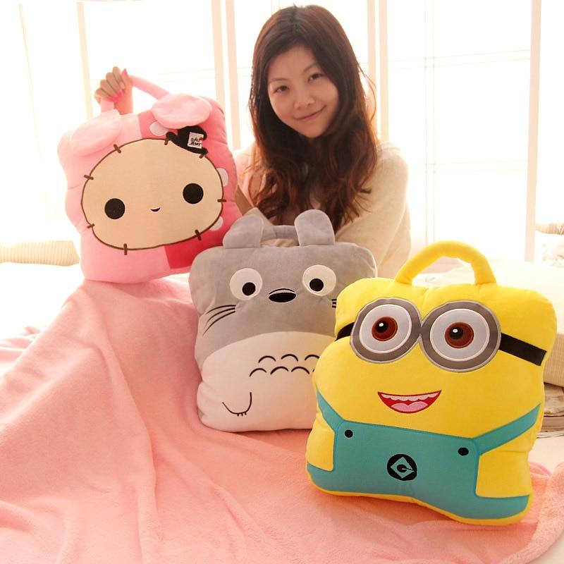 ФОТО Candice guo!  plush toy cartoon Totoro Minions portable cushion hand warmer soft  air-condition blanket birthday gift 1pc