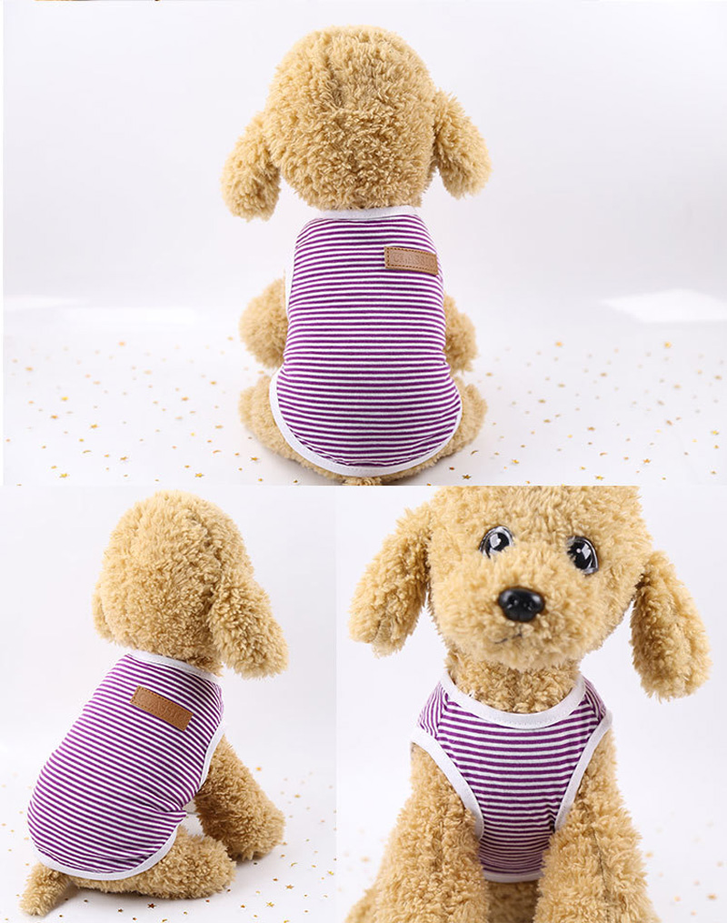 Pets Dog Clothing Spring/Summer Pet Cat Clothes for Cats Kitty Kitten Classic Striped Vest T-shirt Fashion Cotton Cats Shirts 9