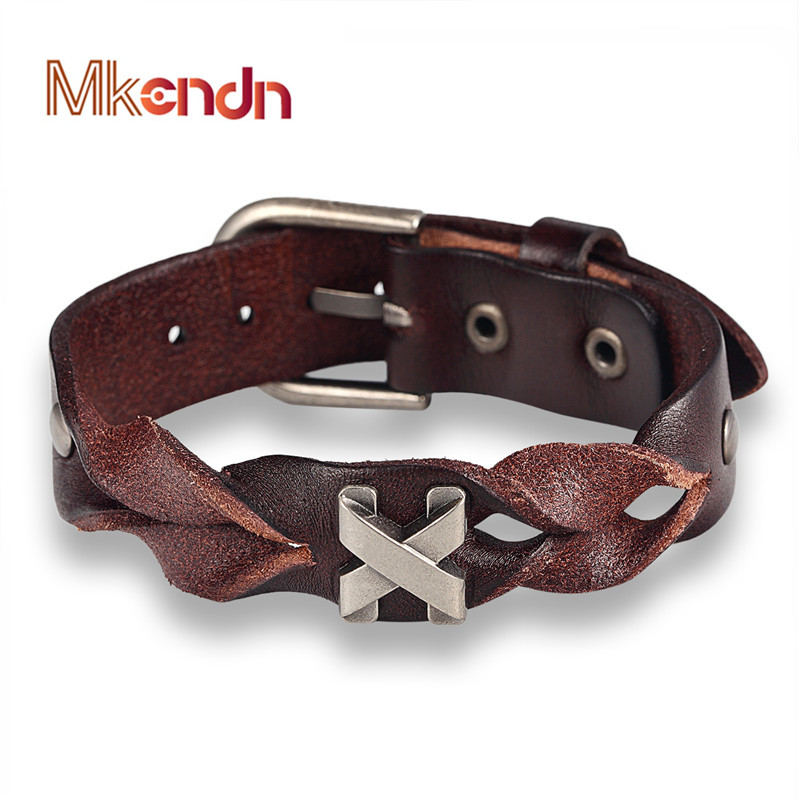 MKENDN New Arrival Handmade Genuine Leather Bracelets Brand Fashion Punk Cuff Bracelets & Bangle for Women Men Jewelry Accessory
