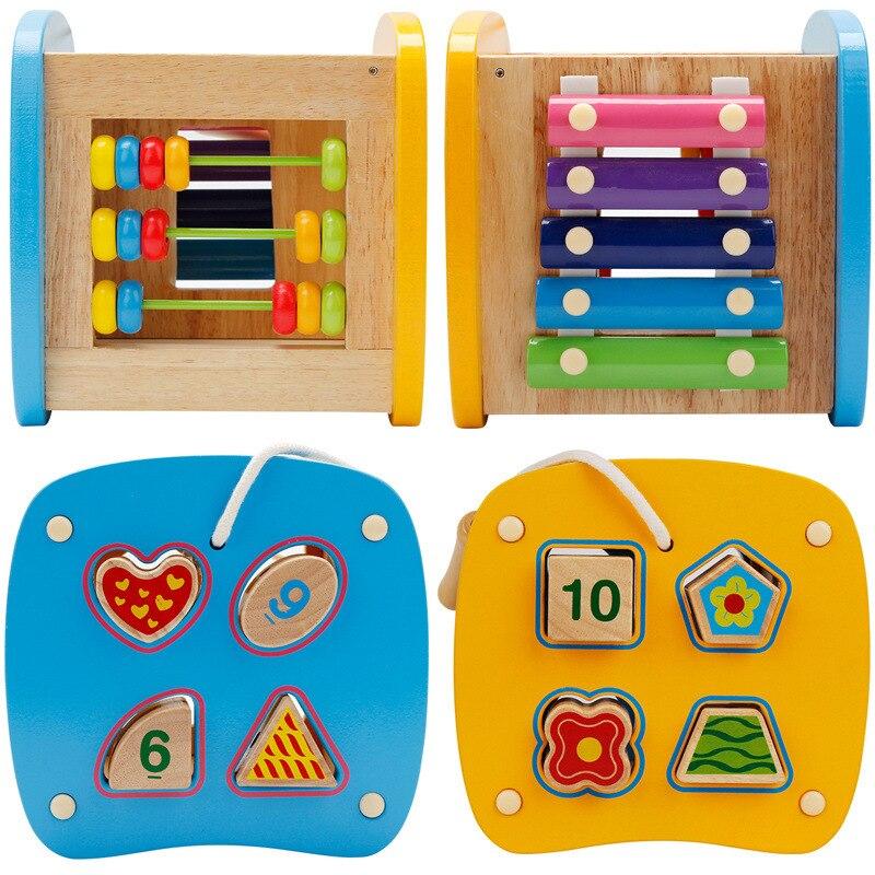 Multi-fonction forme boîte jouet contient Xylophone Abacus assemblage blocs de construction bébé début de la tête formation Montessori jouets - 4