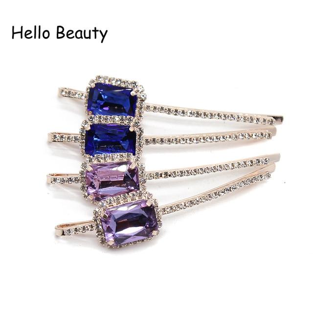 New Design Ladies Hairwear Korea Women Hair Accessories Purple Rhinestone  Hair Barrette Fashion Blue Hair Clips With Crystals 42db2edb3675