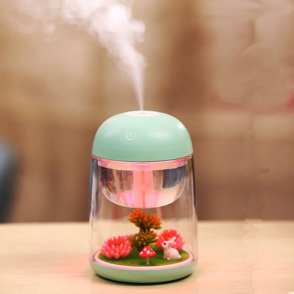 Micro-Rabbit Garden Landscape Humidifier Aroma Essential Oil Diffuser 180ml Cool Mist Humidifier with Adjustable Mist Mode
