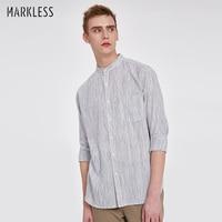 Markless 2018 New Arrival Fashion Gray Stripe Shirt Men Spring Autumn 100% Cotton M XXL Casual camisa masculina CSA8501M
