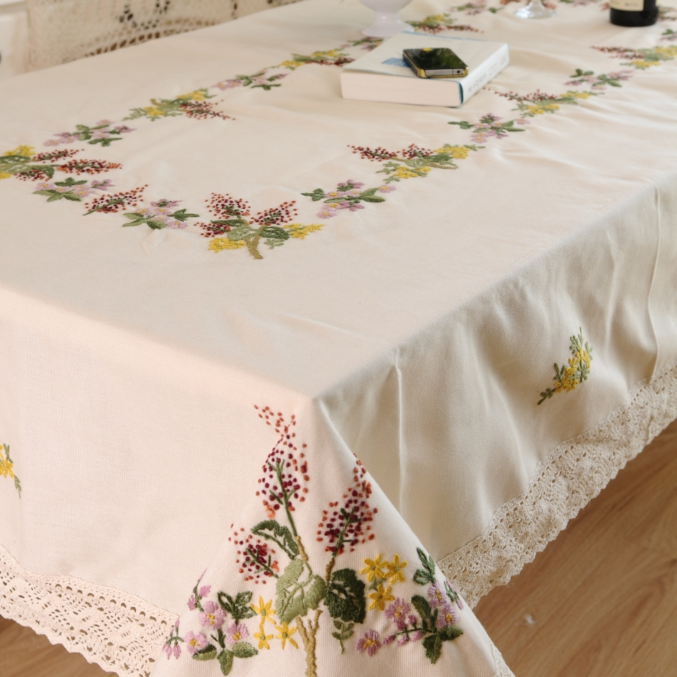 Simple hand embroidery designs for tablecloth - Hetaiyiyuan Fashion Hand Embroidery Home Party Table Cloth Christmas Tablecloth Embroidery Dining Tablecloths Table Cover In Tablecloths From Home Garden