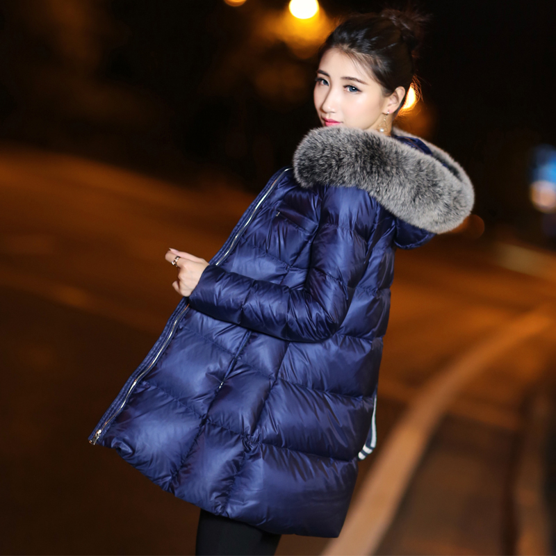 2018 womens duck down coat jacket with large fox fur hooded thickening medium-long female winter parkas blue plus size xxl 2xl
