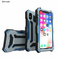 R-just For iphone X Three-proof Anti-shock Case Armor Alloy Metal Phone Cover For iPhoneX 5.8 inch Fundas Waterproof Shell Skin