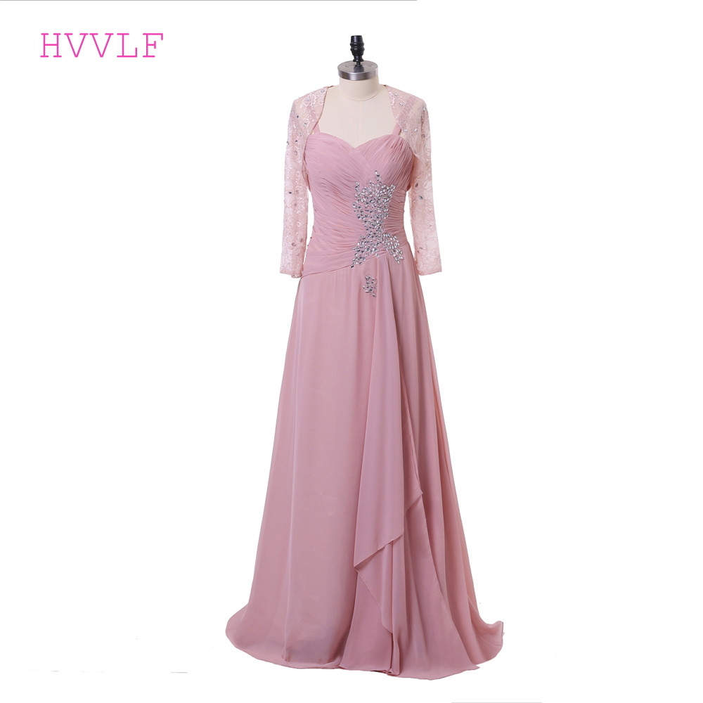 Pink 2019 Mother Of The Bride Dresses A-line Chiffon Lace Crytals Groom Long Evening Dresses Mother Dresses For Wedding