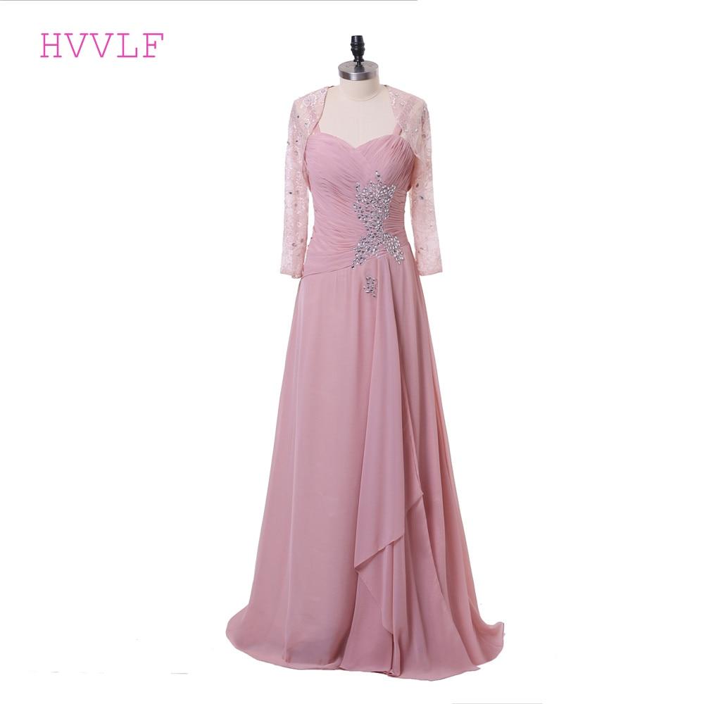 Rose 2019 mère de la mariée robes a-ligne en mousseline de soie dentelle Crytals marié longues robes de soirée mère robes pour mariage
