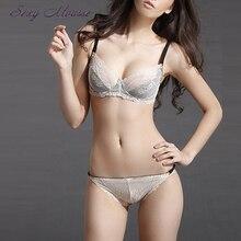 2016 Sexy Women Lacy Floral Transparent  Lingerie Underwear Set Push Up Vs Ladies Bra Brief