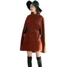Осенне-зимняя куртка-пончо длинное шерстяное пальто женский плащ-накидка верхняя одежда однобортное черное пальто с поясом Z267