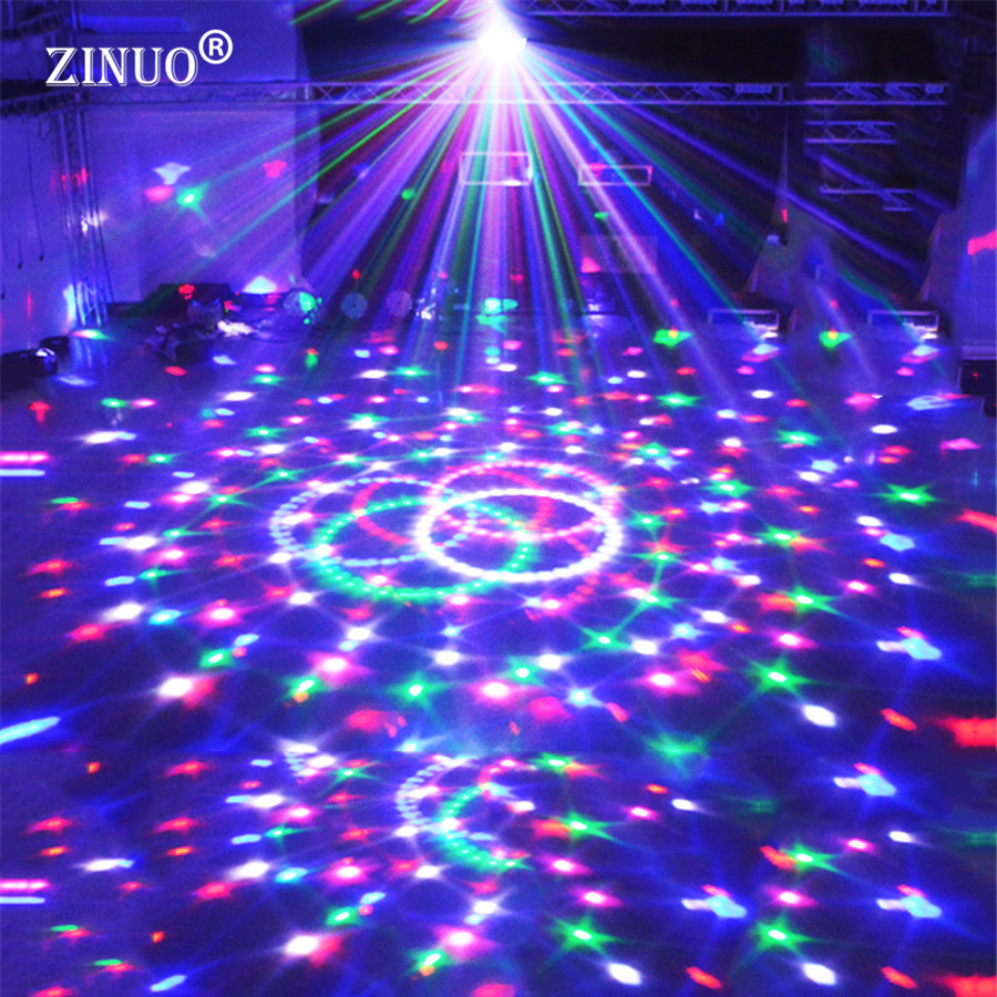 где купить ZINUO Voice Control RGB LED Stage Lamps Crystal Magic Ball Laser Projector Stage Effect Light Party Disco Club DJ Light DMX по лучшей цене