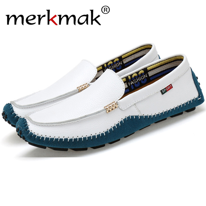 Merkmak Newly Men Loafers Shoes 2017 Fashion Casual Brand Design Slip On Men Moccasins Breathable Flats Shoes Zapatos Hombres 2017 brand new men spring fashion breathable slip on shoes stretch fabric light shoes casual flats jogging loafers shoes wb 36