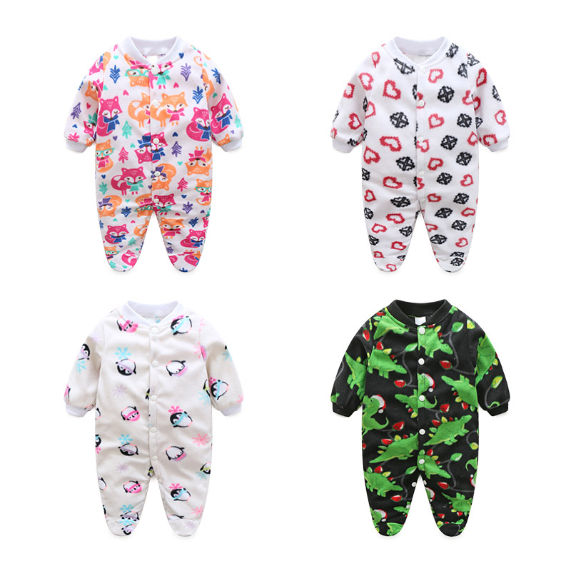 Brand Baby Clothes Pajamas Newborn Baby Rompers Fleece Infant Long Sleeve Jumpsuits Boy Girl Autumn Winter Unisex Baby Clothes newborn baby rompers autumn winter package feet baby clothes polar fleece infant overalls baby boy girl jumpsuits clothing set