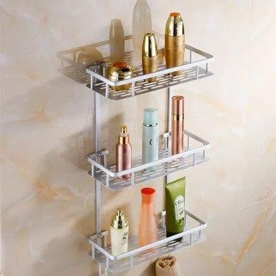 Home Kitchen Bathroom Shower Storage Shelf Bathroom Shelves Space Alumimum 3 TierCaddy Basket Rack Wall Mounted Bath Shelve цены онлайн