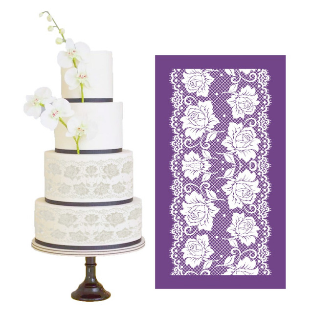 Rose Fabric Stencil Cake Side Mesh Stencils Lace Moulds Fondant Wedding Sugarcraft Decorating Template