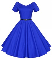 Hot 1950s 60s Vintage Europe Hepburn Style Dress V Neck Short Sleeved Strapeless Big Swing Banquet