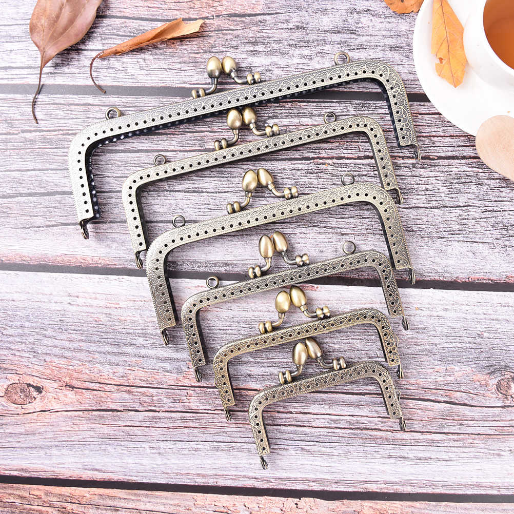 1PCS 8.5/10.5/12.5/15/16/18/20cm Bronze DIY Purse Handbag Handle Coins Bags Metal Kiss Clasp Lock Frame New Fashion Handle
