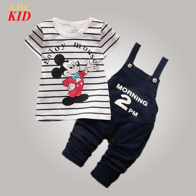 Summer Kids Boys Clothing Set Mickey Shirt + overalls 2pcs suits Baby Striped shirts Cotton overall pants disfraz infantil KD184 017 summer baby boys clothing set kids