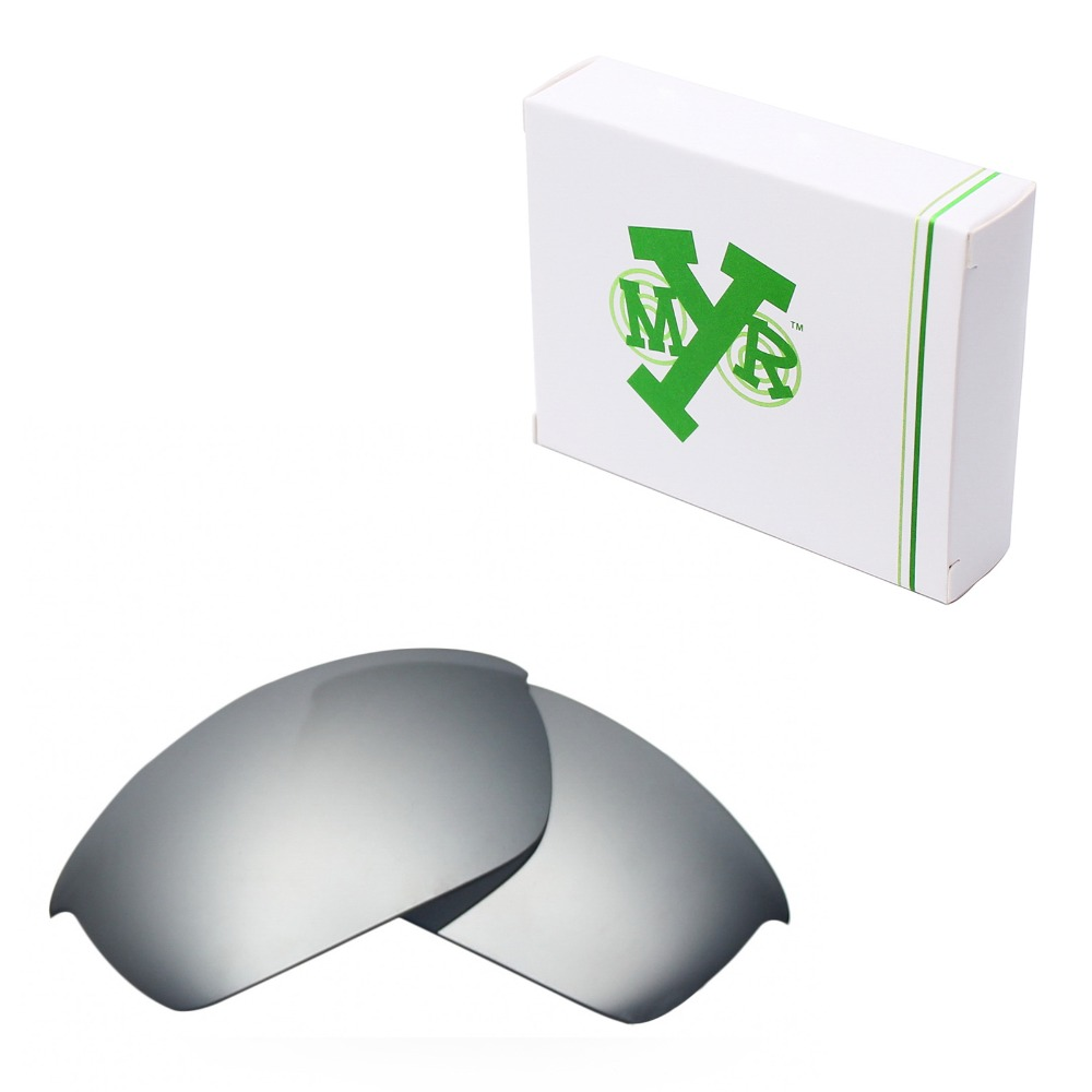 47a0beff66 Mryok POLARIZED Replacement Lenses for Oakley Flak Jacket Sunglasses Silver  Titanium