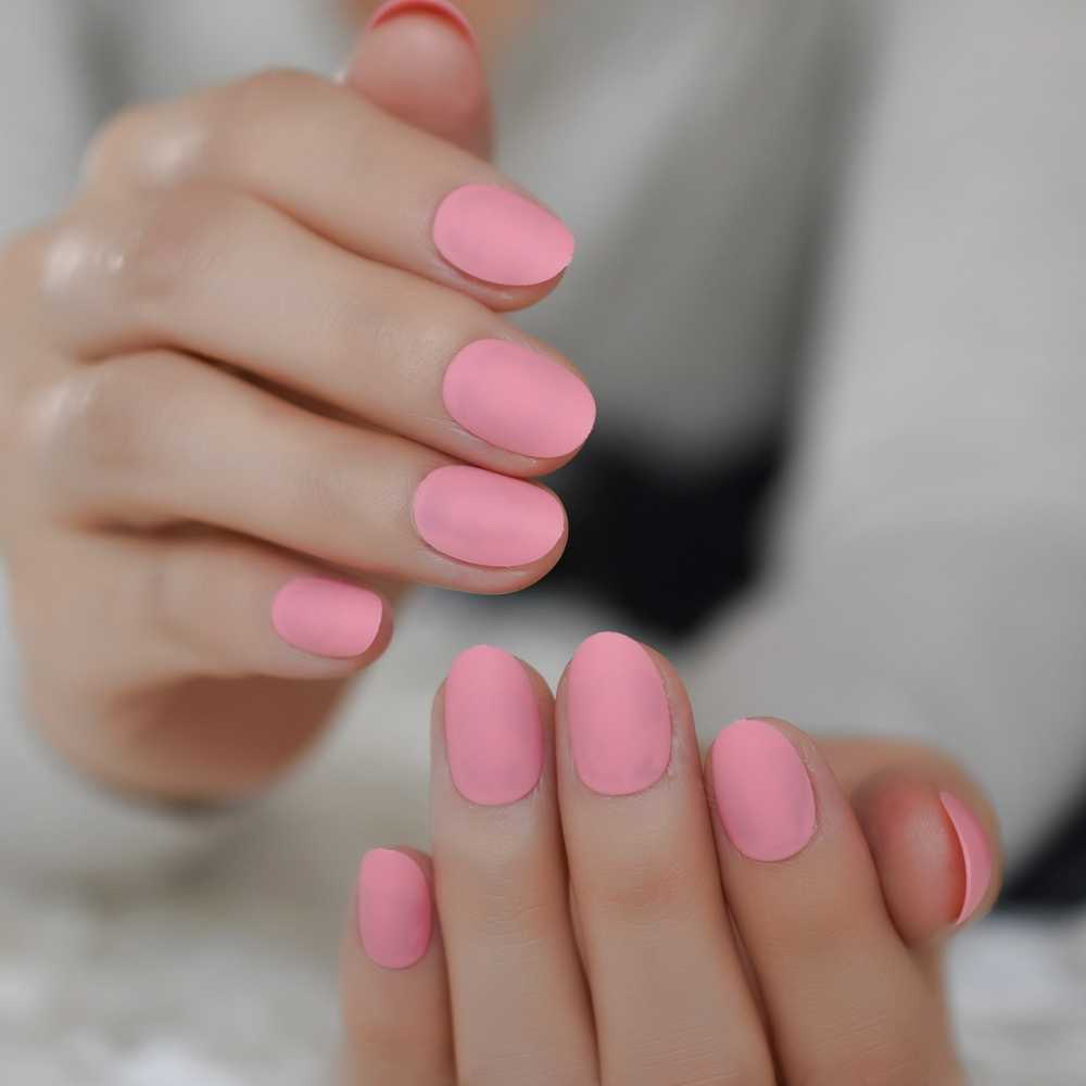 New Arrival Light Pink Short Candy Color Fake Nails Cute Pure Color Matte Oval False Artificial Nail Tips 10 Sizes 24pcs