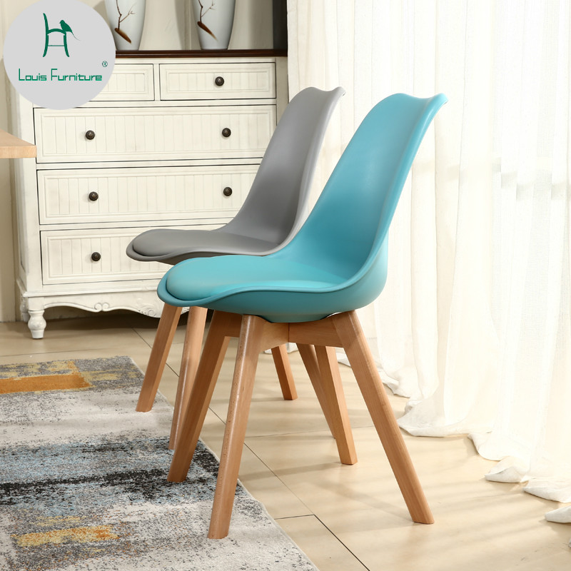 Louis Fashion Dining Chairs Modern Simple Wood