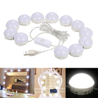 New Makeup Mirror LED Light Bulbs Kit USB Charging Port Cosmetic Lighted Make up Mirrors Bulb Adjustable Brightness lights