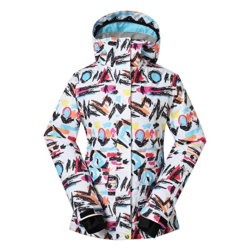 GSOU SNOW graffiti combinaison de ski pour femme extérieur imperméable coupe-vent chaud simple et double ski randonnée veste 1407