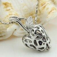Best Chrismas Gift Cute Girls Apple Silver Plated Locket Pendant Necklace