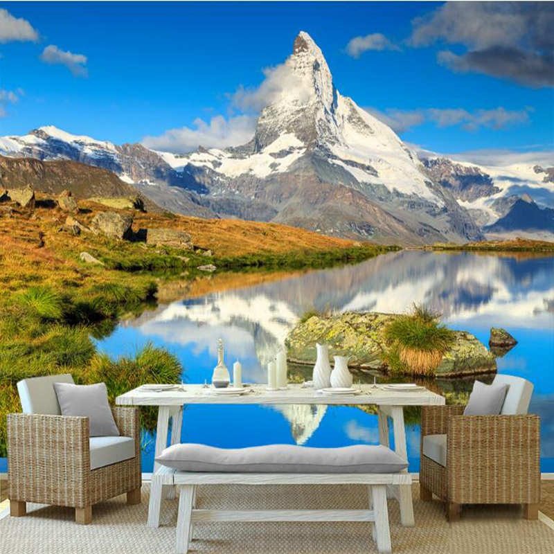 landscape 3d wallpapers living lake paper background wall tv study