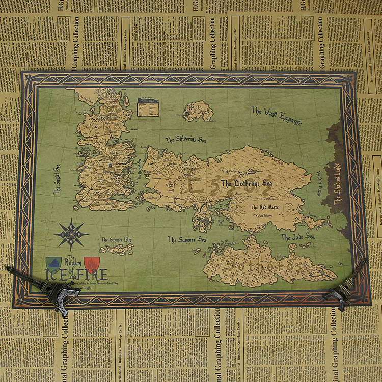 Retro kraft game of thrones map movie poster wall art for Game of thrones garden ornaments