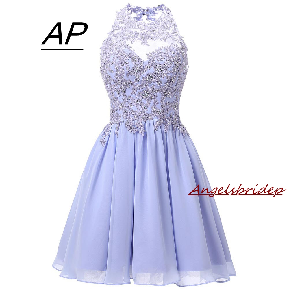 ANGELSBRIDEP Short Lavender Homecoming Dresses 2019 Mini Crystals Homecoming Dress Open Back Homecoming Gowns Graduation Dresses