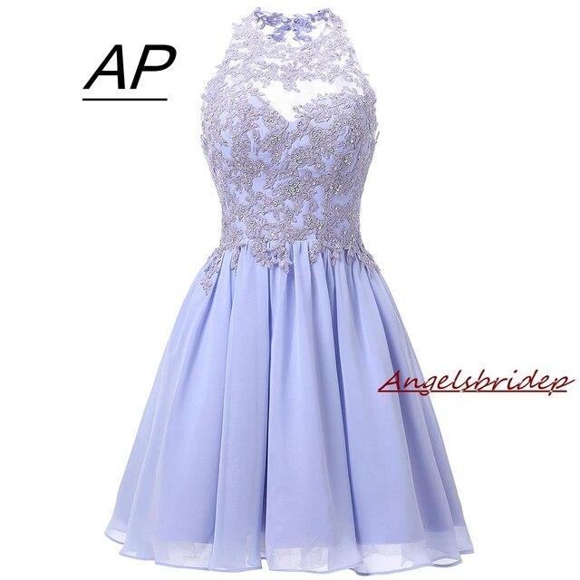 Angelsbridep Ngắn Oải Hương Homecoming Váy 2020 Mini Tinh Thể Homecoming Đầm Hở Lưng Homecoming Đồ Bầu Tốt Nghiệp Áo