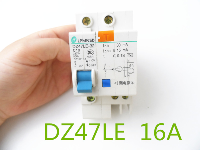 DZ47LE 1P+N 16A C type 230V~ 50HZ/60HZ Residual current Circuit breaker with over current and Leakage protection idpna vigi dpnl rcbo 6a 32a 25a 20a 16a 10a 18mm 230v 30ma residual current circuit breaker leakage protection mcb a9d91620