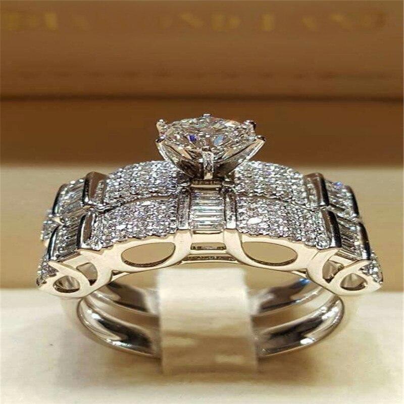 Princess Set Love Ring Wedding Rings Crystal Silver