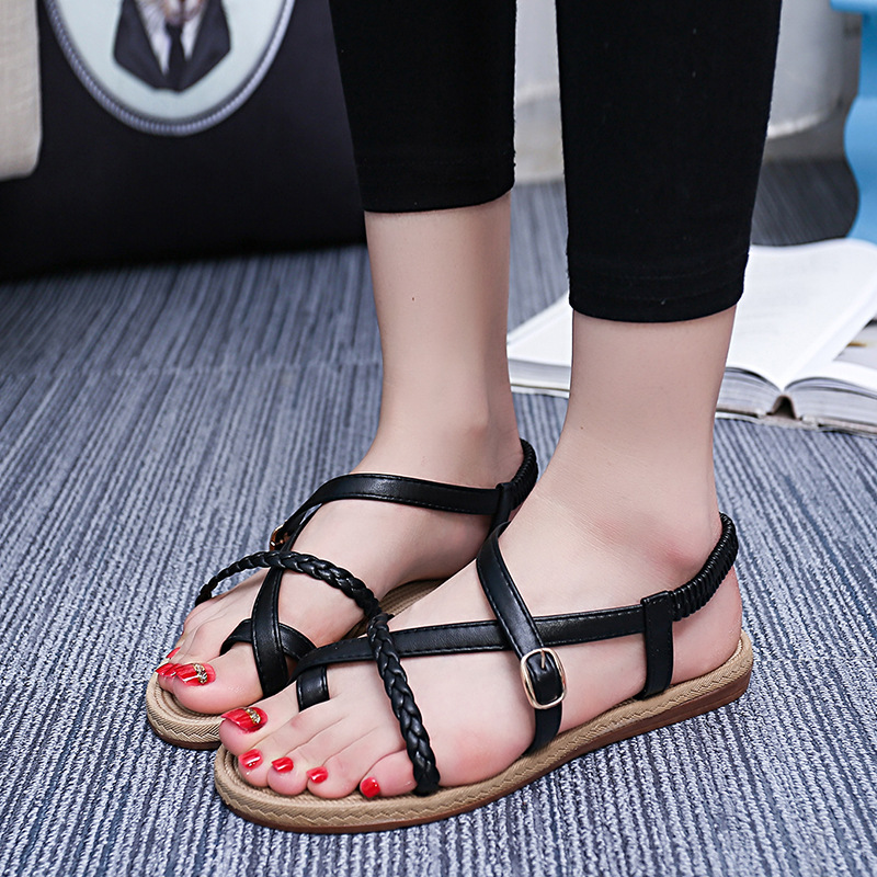 2017 summer sandals female fashion thin band flats Flip-flops women shoes black white