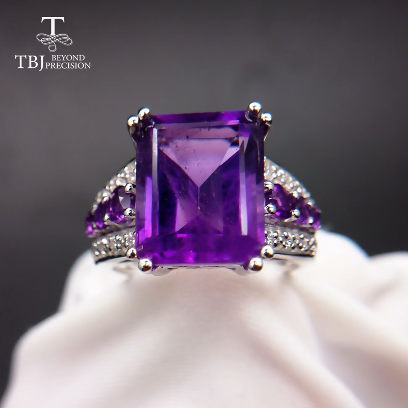 Tbj Luxury elegant ring with natural african amethyst in 925 sterling silver fine jewelry for women