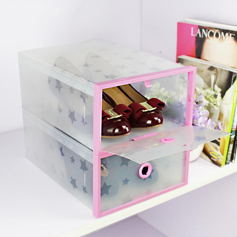 Transparent Stackable Plastic Shoe Storage Box Case for Men / Women 4 Colors