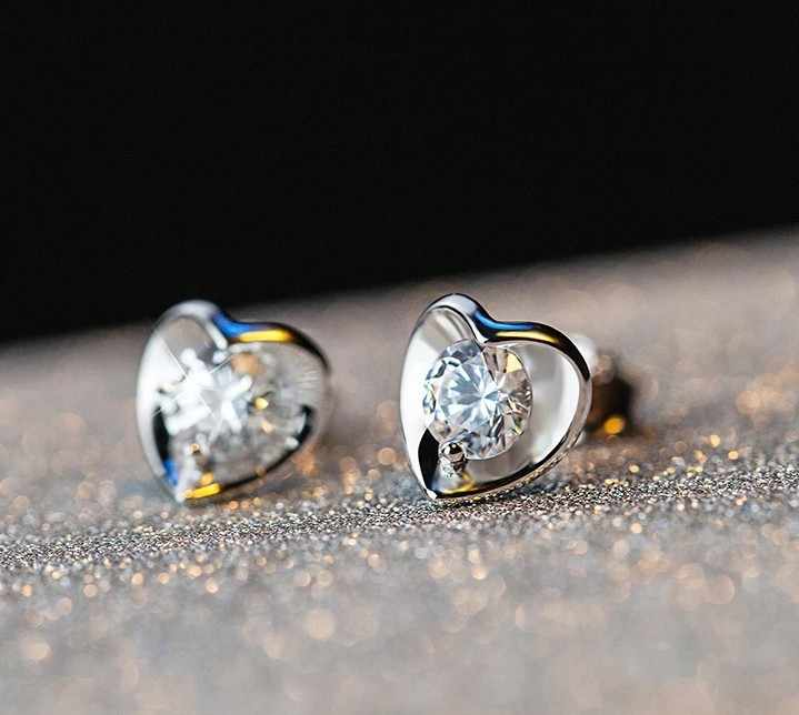 Newest Plata color small Love heart Stud Earrings for Children, Clear AAA CZ Female Brincos for Woman Fine girls Jewelry