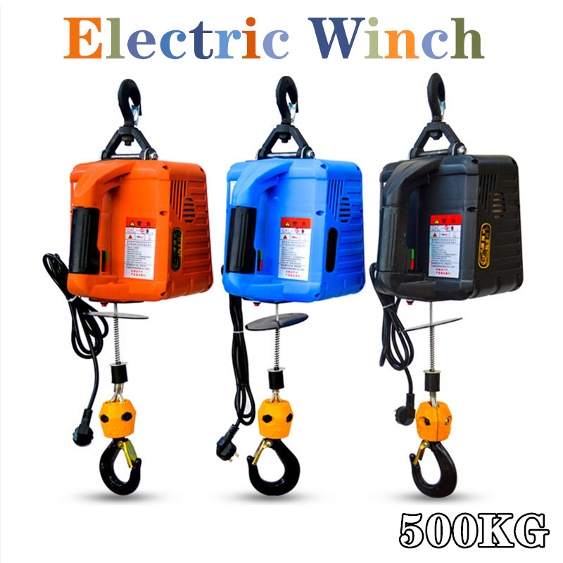 220V 500KG 7.6M  Portable Electric Winch With Wireless Remote Controller Winch Traction Block Electric Hoist Windlass Free Shipp