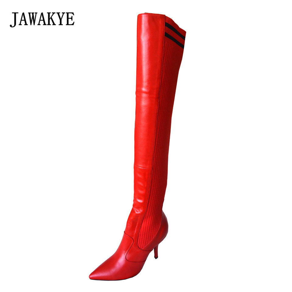 JAWAKYE New Sexy Red Patchwork Over The Knee Boots Women Pointed Toe Sheepskin Leather back knitted Stretch Thigh High Boots